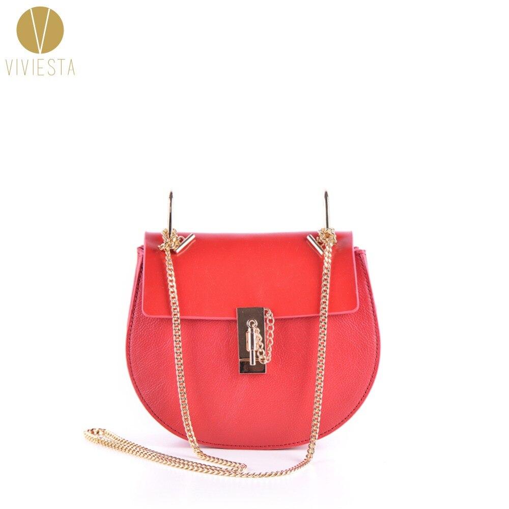 정품 리얼 가죽 체인 잠금 SADDLE 가방 여성 2019 패션 브랜드 최고 품질의 쇠가죽 크로스 Crossbody 가방 지갑 핸드백