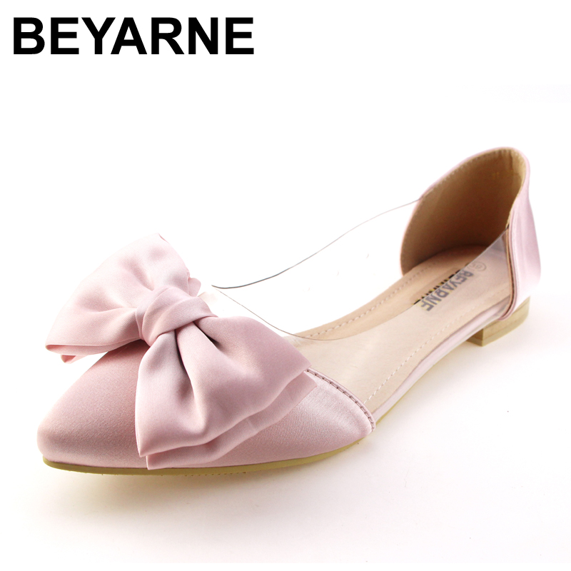 BEYARNE Spring Women Flats Shoes New 2017 Shoes Woman Bowtie Pointed Toe Casual Ballet Ballerina Ballet Flat Sandals 2017 spring summer new women casual pointed toe loafers flats ballet ballerina flat shoes plus size 34 43