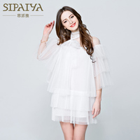 Vestidos 2017 three kat stil yaz kadın mini beyaz dress zarif yarım kol bow ruffled tığ dantel dress