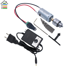 DIY 12V DC Motor Electric Drill Set Mini Drilling Woodworking Soft Metal Adjustable AC Power Supply Quick Connector EU/US Plug