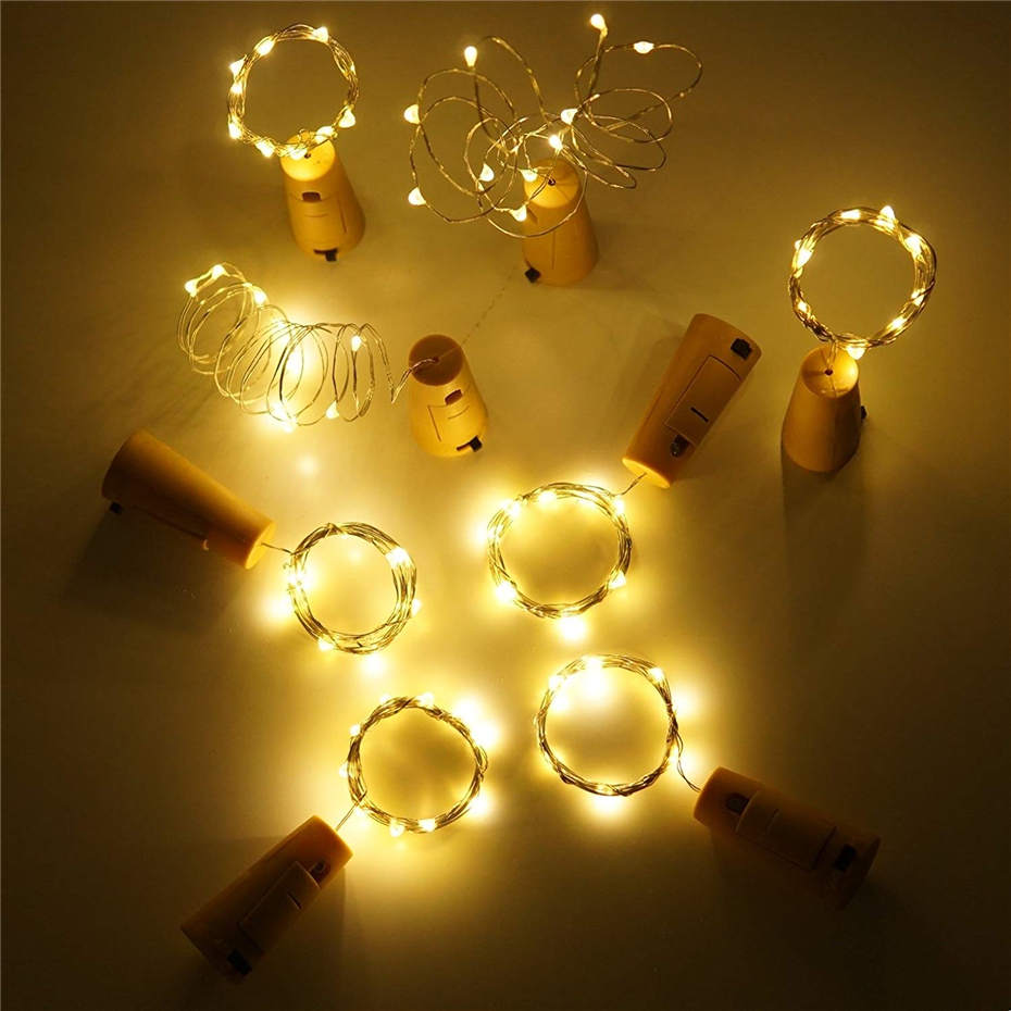 LED cork shape silver copper wire colorful fairy mini string lgihts for DIY