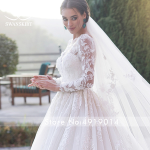 Image 4 - Swanskirt רומנטי 3D אפליקציות חתונת שמלת 2020 סקופ צוואר ארוך שרוול כדור שמלת אשליה הכלה שמלת Vestido דה Noiva K186