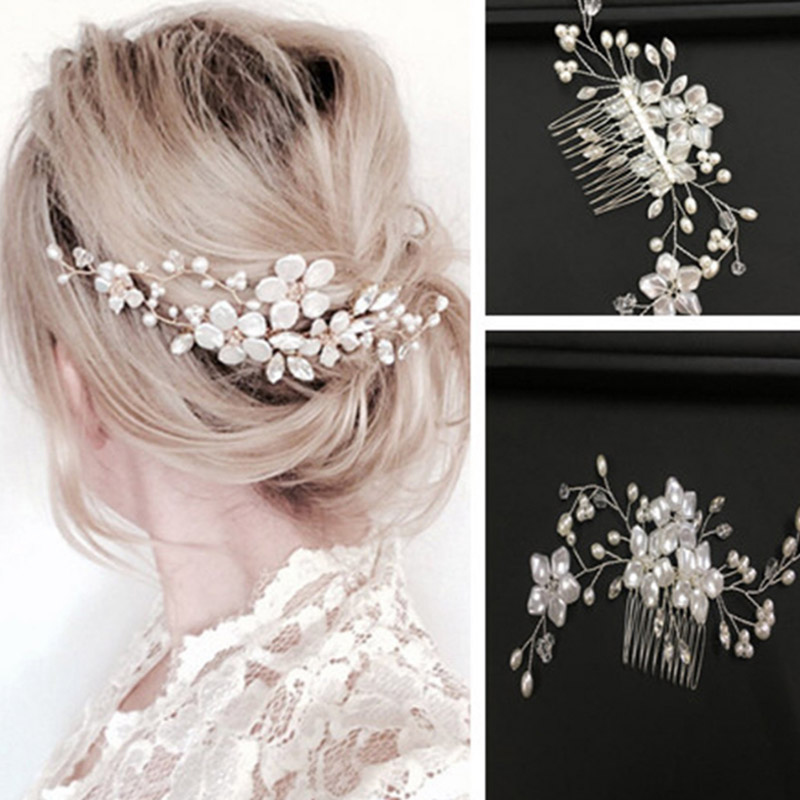 20 Wedding Hairstyles With Flowers: Sweet Wedding Hair Comb Ornaments Shining Flower Beads