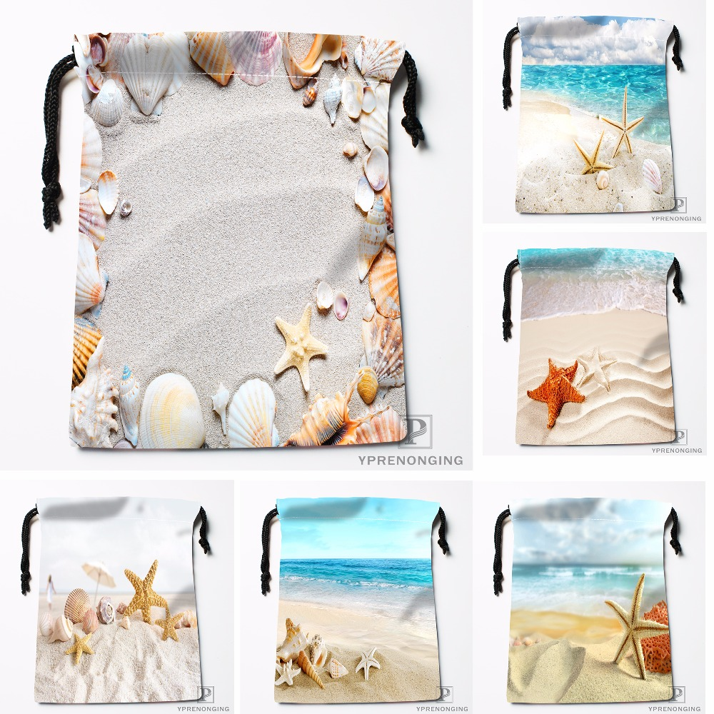 Custom Summer Beach Stone Sea Shells Drawstring Bags Travel Storage Mini Pouch Swim Hiking Toy Bag