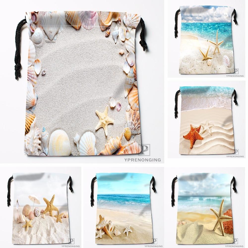 Custom Summer Beach Stone Sea Shells Drawstring Bags Travel Storage Mini Pouch Swim Hiking Toy Bag Size 18x22cm#0412-04-216