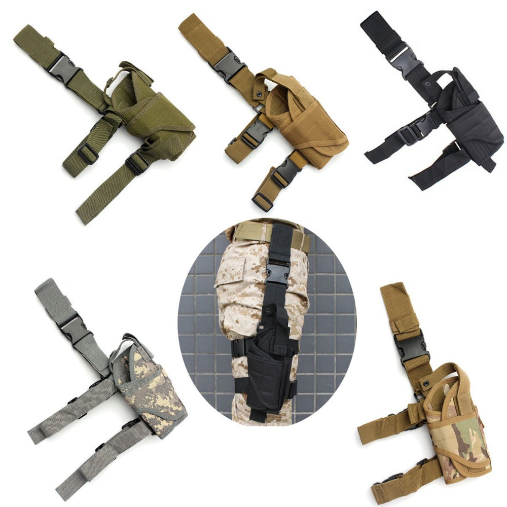 Right Drop Leg Adjustable Tactical Army Pistol Gun Thigh Holster Pouch Holder adjustable quick release plastic tactical puttee thigh leg pistol holster pouch for usp45 black page 3