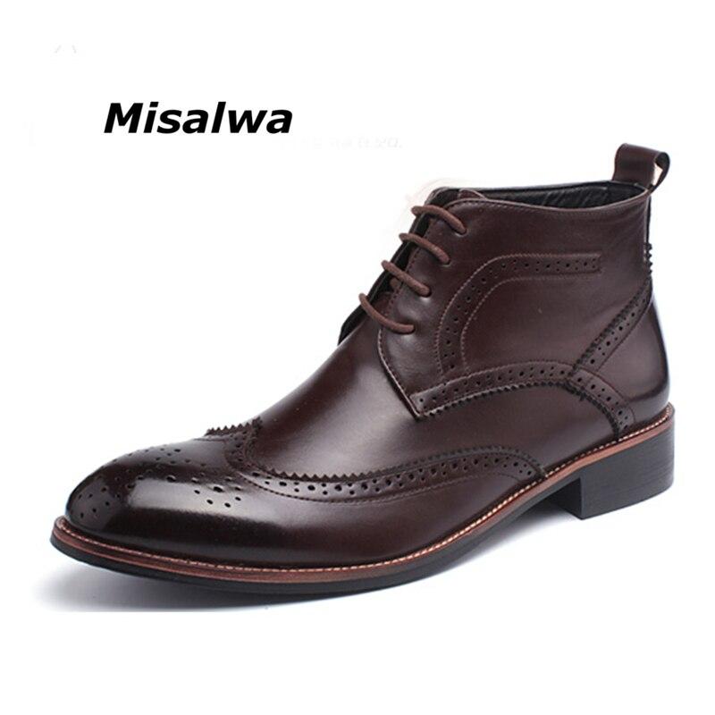 Misalwa/мужские Кожаные полуботинки с перфорацией типа «броги» черного и коричневого цвета, мужские ботинки-оксфорды верблюжьего цвета
