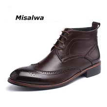 Misalwa Male Black Brown Brogue Leather Ankle Boots Men's Camel Oxfords Boots Shoes