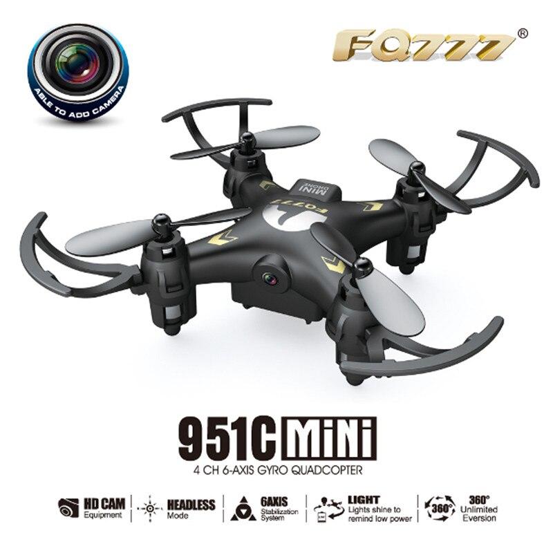 Vente chaude FQ777-951C MINI Avec 0.3MP Caméra Sans Tête Mode 2.4G 4CH 6 Axes RC Quadcopter RTF Soutien SD carte