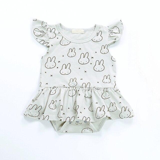 Summer Cotton Baby Rompers Cartoon Cute Fly Sleeve Rabbit Skirted