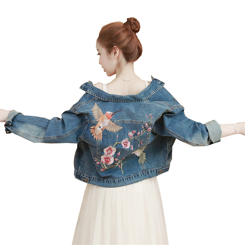 New Autumn Spring Embroidery Women Casual Jean   Jackets   Slim Female Cowboy Wears Coat Girl Long Sleeve   Basic     Jacket   Outwear WZ081