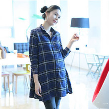 New Korean Fashion Maternity Shirt Tops Spring Autumn Plaid Long Sleeve Pregnant Blouse For Pregnancy Clothes For Pregnant Women
