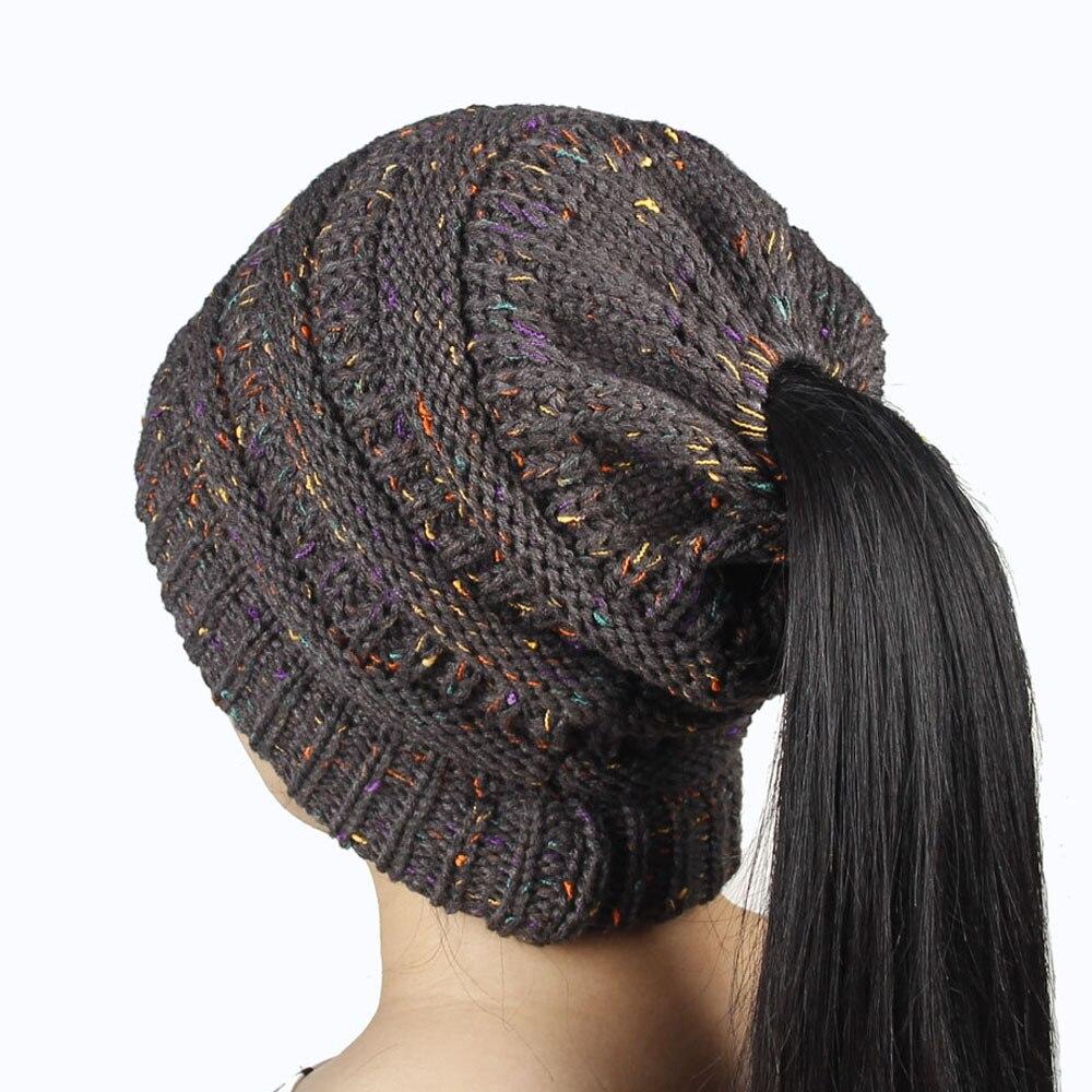 10 видов цветов 1 шт. Женская мода Девушка стрейч вязать шляпу грязные Бун хвост шапочка дырявые зимние теплые шапки