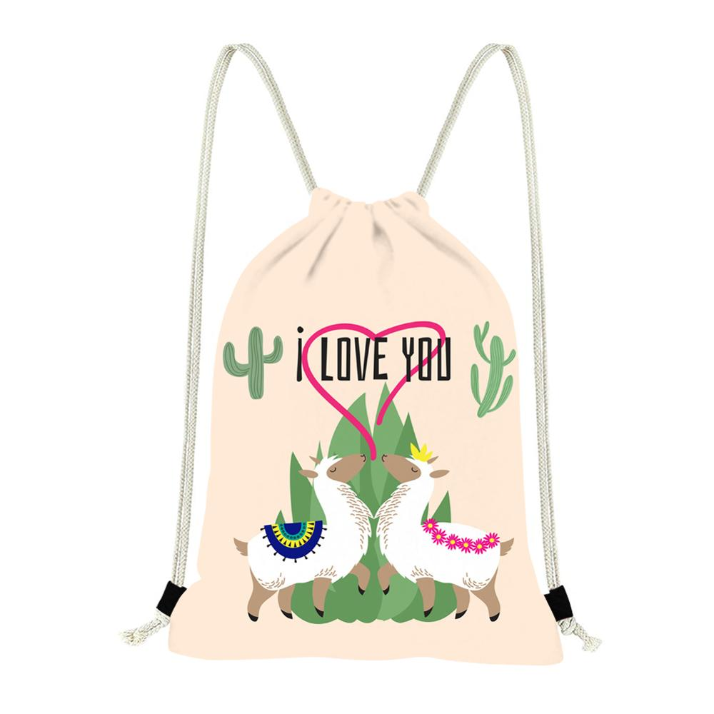 INSTANTARTS Hot Sale Cartoon Alpaca Printing String Backpack Sack Women Mochila Feminina Daily Casual Drawstring Bag
