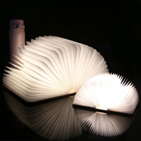 LED Foldable Wooden Book Shape Desk Lamp Nightlight Booklight USB Rechargeable Jan19 Y122