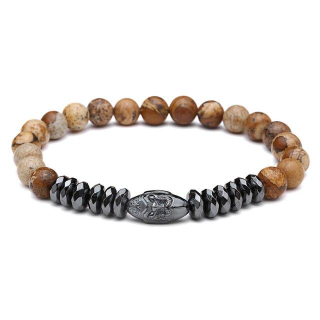 Mcllroy Natural Stone Beads Bracelet For Men Women Ball CZ Zircon Skull Accessaries Charm Bracelets Bangles Men Jewelry pulseira