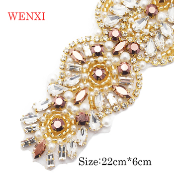 WENXI 10pcs Handmade Rose Gold  Bride Rhinestones Appliques Banding Iron On Wedding Dress Belt Rose Gold Crystal Accessory WX939