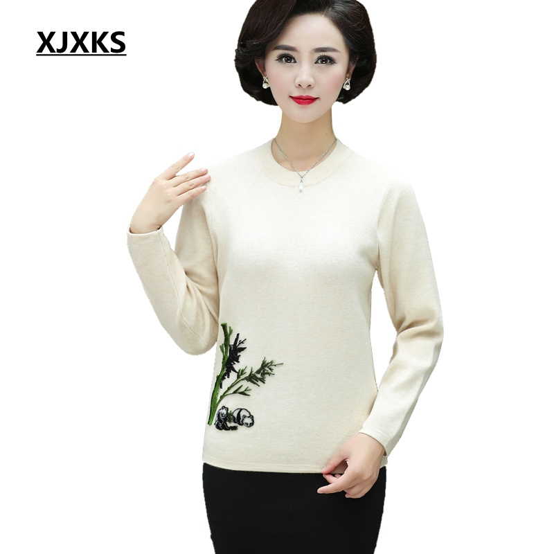 XJXKS Autumn And Winter Pullover Women Plus Size Sweater Panda Pattern Female Jumper Beautiful Vintage Knitted Sweater