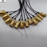 Power Cord Retro Vintage Pendant Lights 1 2m Pure Cupper 1 3 5 Heads E27 Industrial