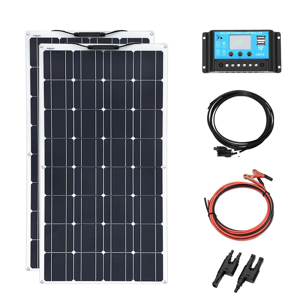 Painel solar flexível 2 pcs 100 W DIY 200 w 12 v ou 24 v bateria para casa com USB adaptador de cabo do controlador MC4 20A fio china