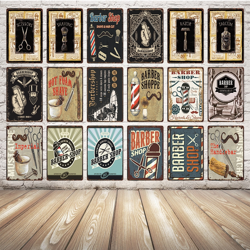 [ Kelly66 ] Classic Barber Shop Metal Sign Tin Poster Home Decor Pub Wall Painting 20*30 CM Size Dy28