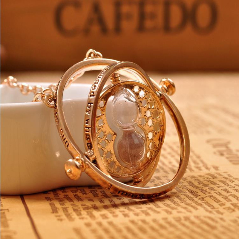 Gold plated time turner necklace hourglass vintage <font><b>pendant</b></font> Hermione Granger for women lady girl wholesale 0131