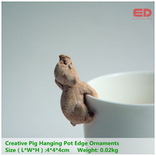 Everyday Collection Creative Pastoral Home Gardening Pots Super Simulation Pig Ornament Hanging Pot Cup Edge Ornaments