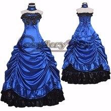 Adult Sleeveless Blue Lolita Gothic Dress Costume Cosplay Women's Halloween Carnival Costume Party Dress Cosplay Custom Made