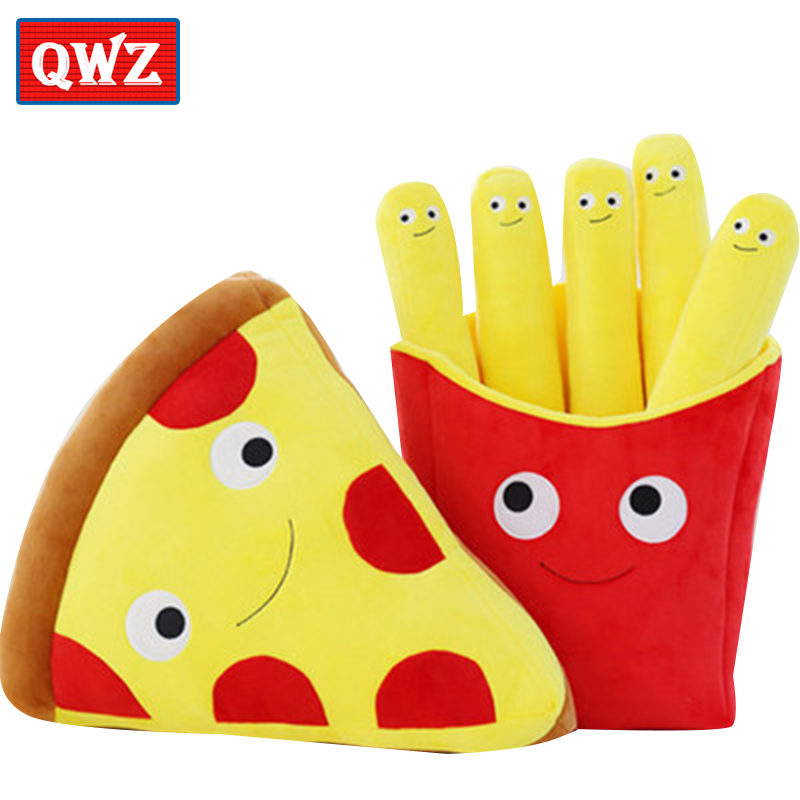 QWZ 50CM 3D Simulation Pizza Fries Pillow Creative Plush Toys Home Decoration Personalized Childrens Holiday Gifts Stuffed Toys