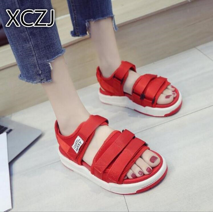 XCZJ Sandals female students 2018 new summer flat women's shoes Korean Harajuku style flat bottom thick platform cake shoes tide xczj sandals female 2018 summer new thick with bow tie lattice shoes korean students wild word buckle high heels