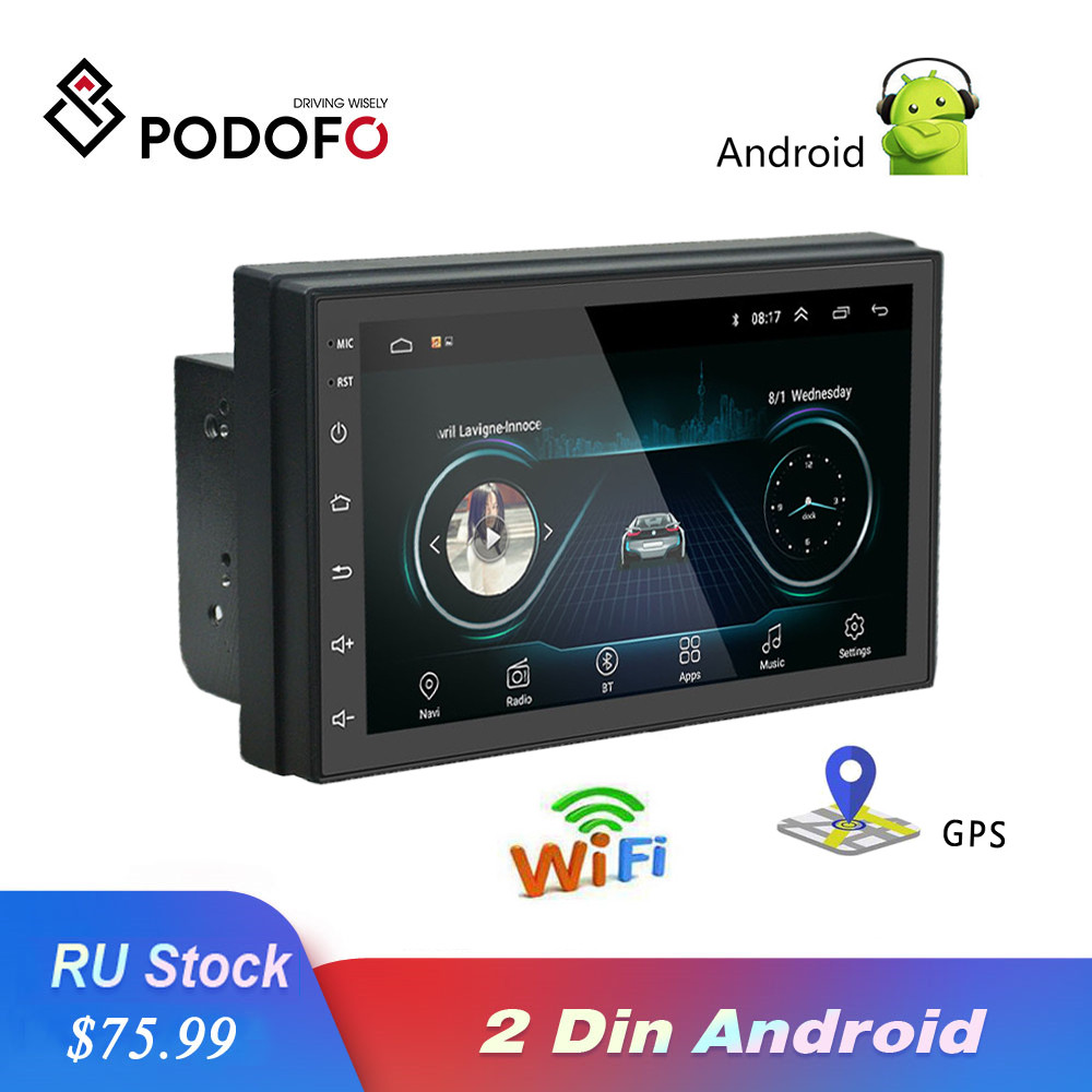 Podofo 2 Din 7'' Android Car Radio GPS WIFI Multimedia Player Touch Screen Bluetooth FM  Auto Audio Stereo Mirrorlink