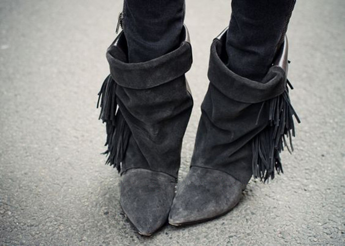 beautiful Tassel Booties Top Quality Spike Heel Shoes Black Grey Nubuck Leather Suede Fringe Ankle Boots Women Slip On Fall Shoe hot selling chic stylish black grey suede leather patchwork boots mid calf spike heels middle fringe boots side tassel boots