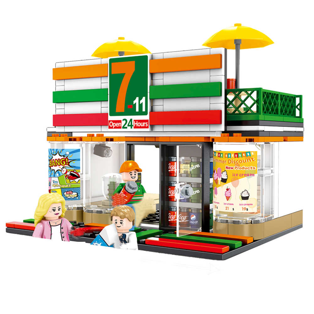 hot city mini Street view series 7-11 Convenient store moc Building Blocks model mini Seller figure brick toys for children gift