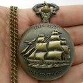 Старинные стимпанк античная бронзовая парусный холст лодка корабль ожерелье цепь кварцевые шкентель карманные часы подарок P77
