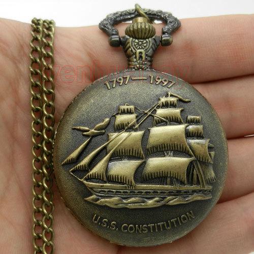 Vintage Steampunk Antique Bronze Sailing Canvas Boat Ship Necklace Chain Quartz Pendant Pocket Watch  Gift P77