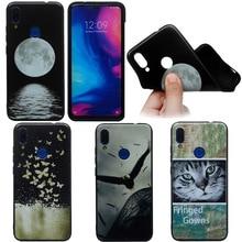 Soft Silicone Moon Case For Xiaomi 8 Lite 9 SE Back Cover Redmi Note 7 Pro Matte TPU Print Animal Sky Cat Phone Cases Coque