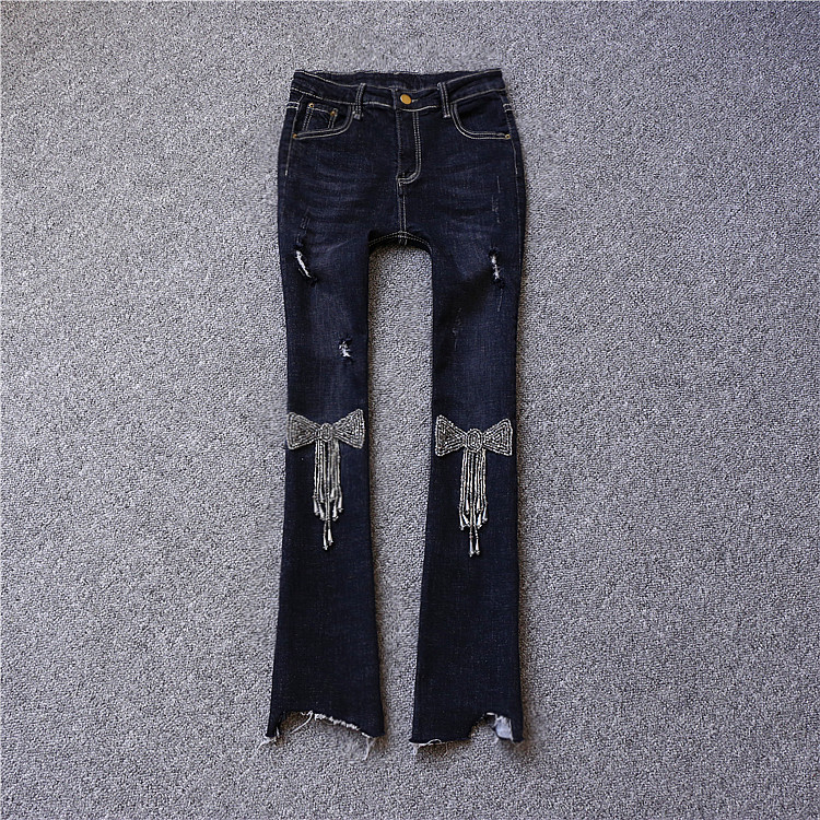 Brand fashion women's high-end luxury beaded hole nine points tassel horn jeans pants  trousers colorful brand large size jeans xl 5xl 2017 spring and summer new hole jeans nine pants high waist was thin slim pants