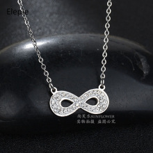 Eleple Luxury 8 Full Crystal Titanium Steel Necklaces Female Simple Short Collarbone Chain Party Gifts Jewelry Necklace S-N579