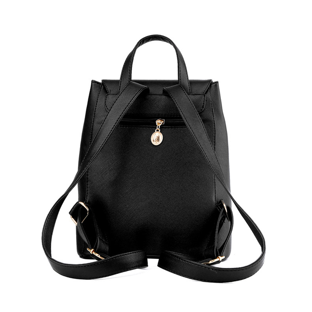 Preppy Style Leather Backpack For Women