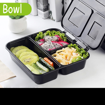 Disposable Lunch Box Take-out Package Bag Restaurant Shop Salad Packing Tools Nontoxic Black Breakfast Box Tools Fast Food Tray