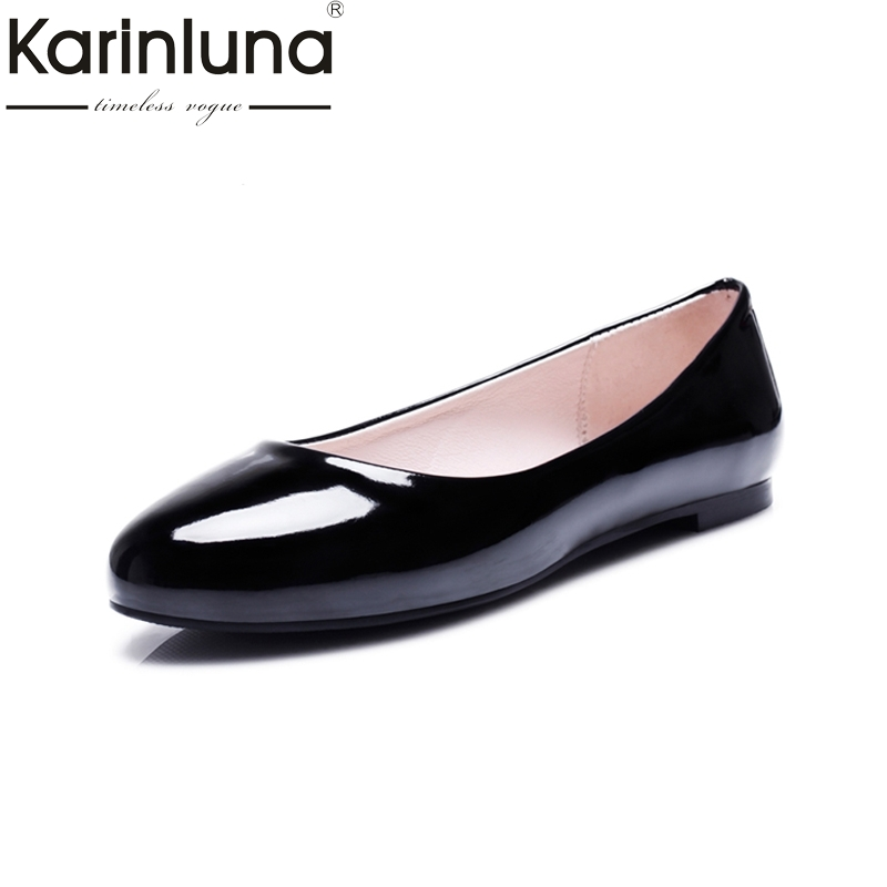 KARINLUNA Women British Style Flats Fashion Patent Upper Slip On Comfortable Spring Autumn Flat Shoes Big Size 31-52 car covers stainless steel scuff plate door sill 4pcs fit for 2007 2012 suzuki grand vitara car styling