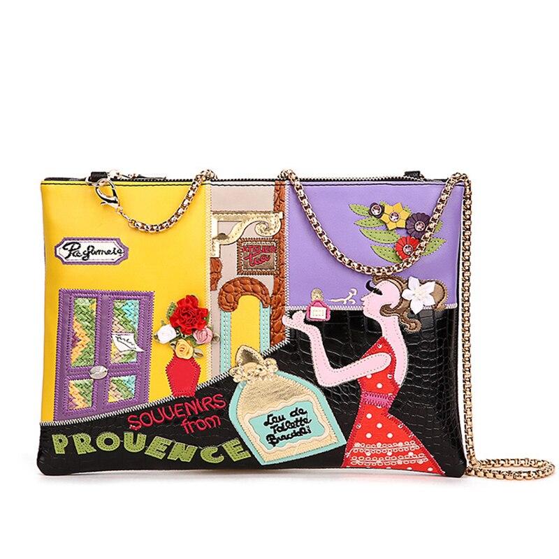 ФОТО 2016 Bailar hand made clutches messenger women handbag flap bag embroidery girl Italy famous brand leather Female Bolsa 8109
