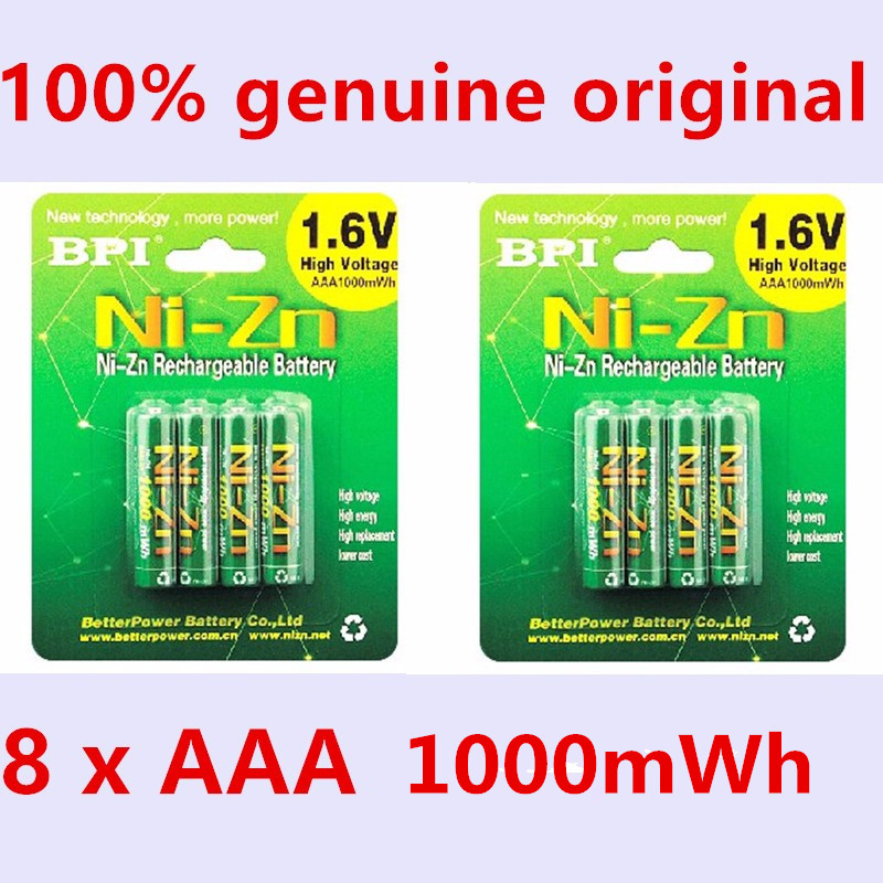8pcs/lot Original New BPI AAA 1000mWh 1.6V 1.5V NI-Zn NI Zn NIZN aaa Low self-discharge rechargeable battery 1.5V