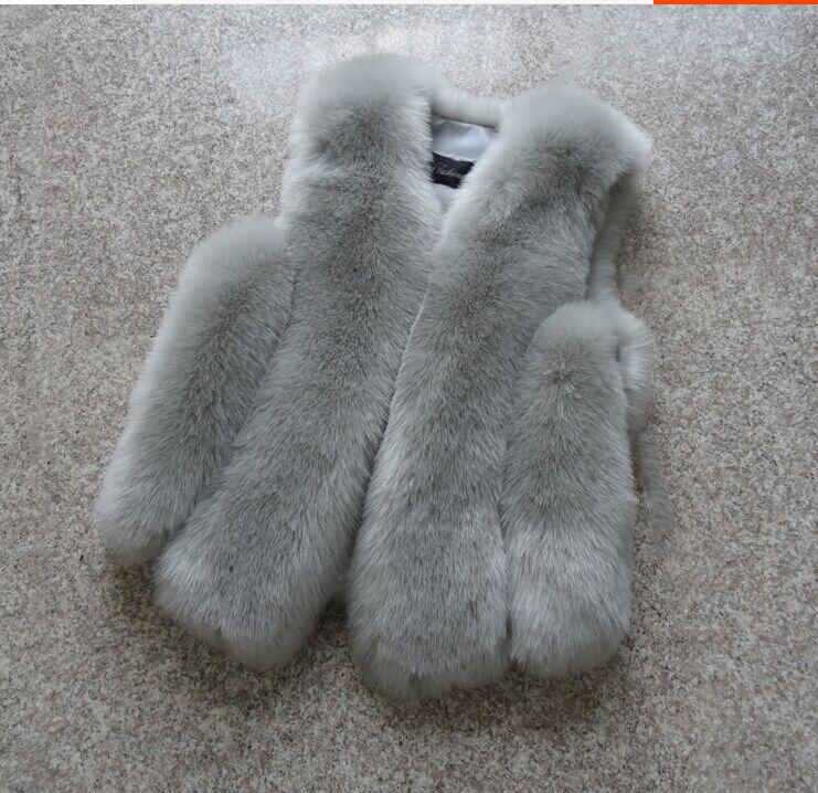 Новинка, зимние толстые теплые меховые жилеты, пальто для женщин, искусственный Лисий мех, жилет, короткие пальто, высокое качество, жилет, Женская куртка, верхняя одежда - Цвет: light grey
