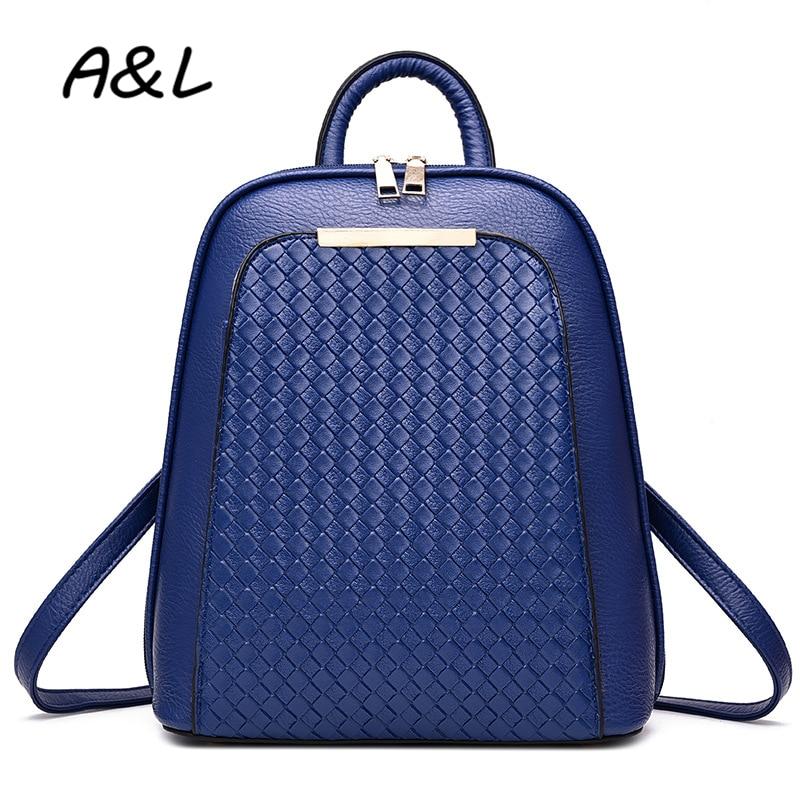 Vintage Women Backpack Women Leather Bag School Backpacks for Teenager Girls Luxury Designer Weave Travel Bag Sac Mochilas A0193