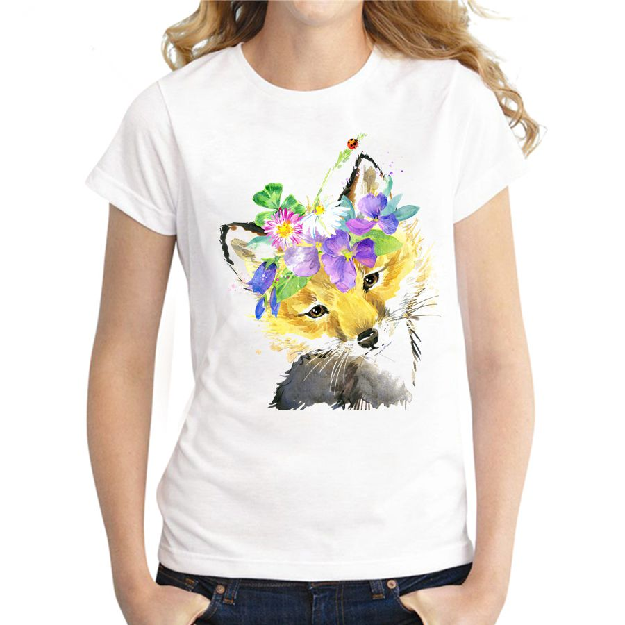 Asian Size Women Funny T Shirt Short Sleeve Novelty Cool Tee Fox Printed Casual T-shirt Fashion Tops For Girls