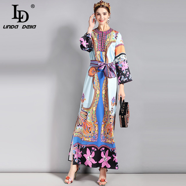 O-Neck Beading Loose Belt Retro Art Floral Printed Long Dress