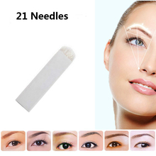 U Shape Tattoo Flex Curved Blades Permanent Makeup Microblading Needles 21 Pins For 3D Embroidery Manual Pen Machine 50PCS