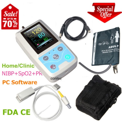 2018 FDA CONTEC PM50 Portable Vital Signs Patient Monitor NIBP/SpO2/Pr,PC Software