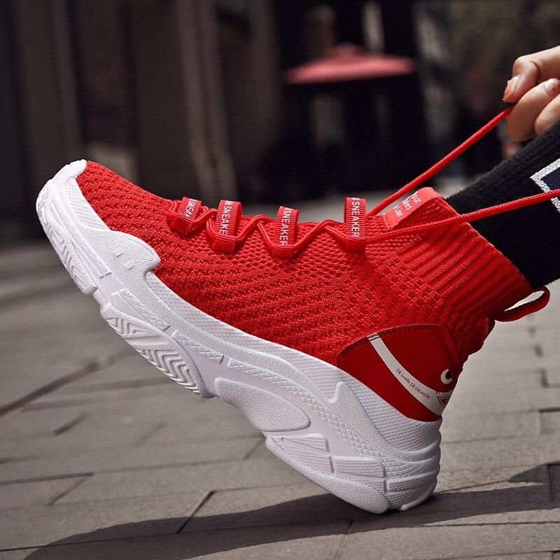 2019 grande tamanho 47 red shark tênis unissex alta superior respirável sapatos de plataforma plana feminino casual meias sapatos masculinos grossos tênis